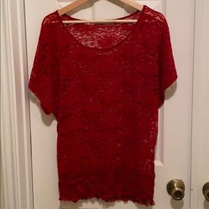Maurices Ribbed Band Lace Top sz L